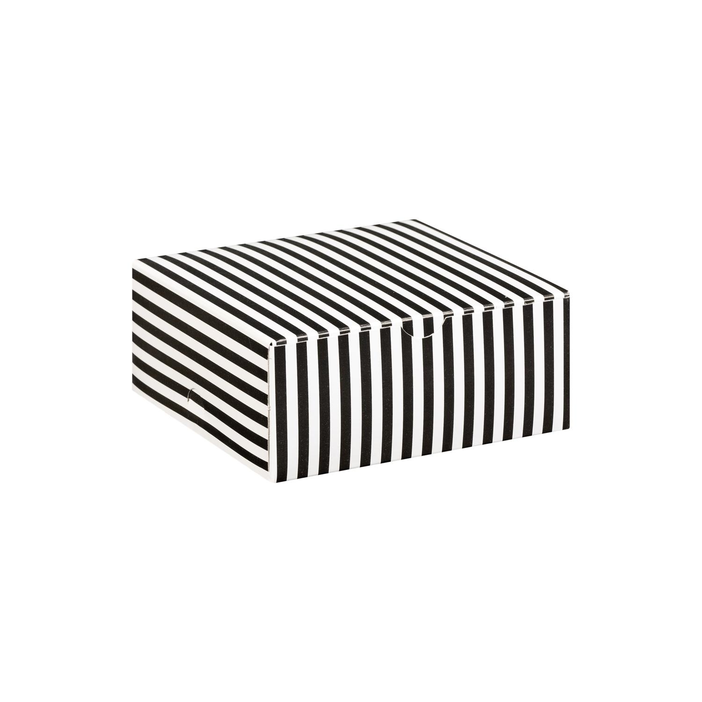 Black And White Stripe Medium Square Cake Box Merrypak